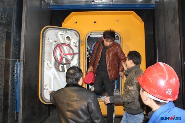 山河矿装矿用可移动救生舱132小时真人试验获成功