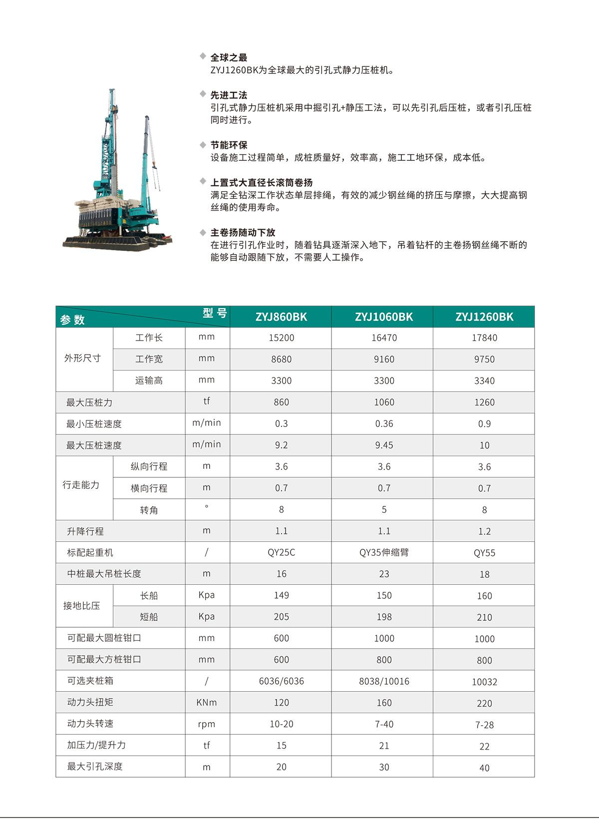 ZYJ1060BK 引孔式静力压桩机