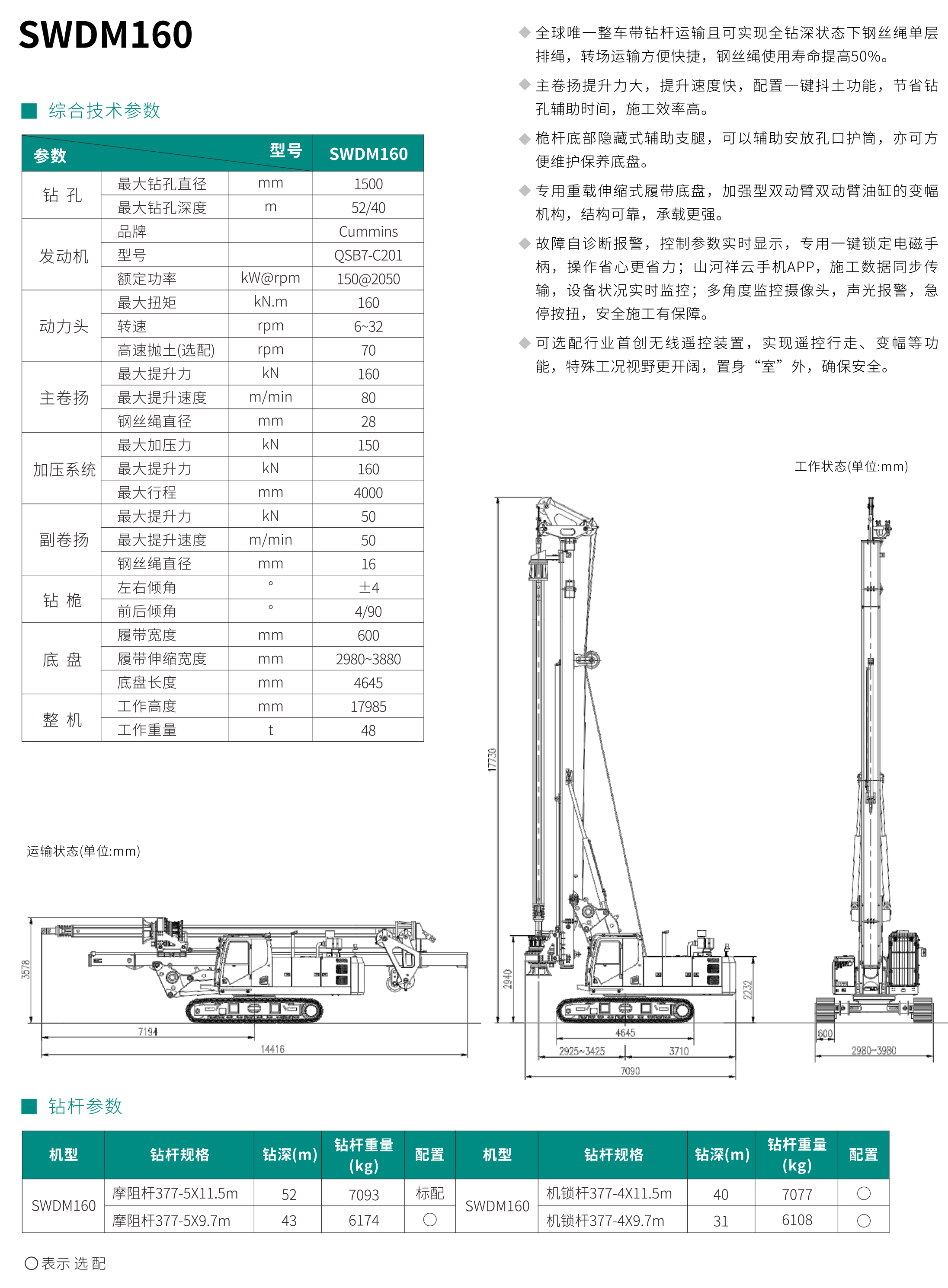 SWDM160 中型多功能旋挖钻机