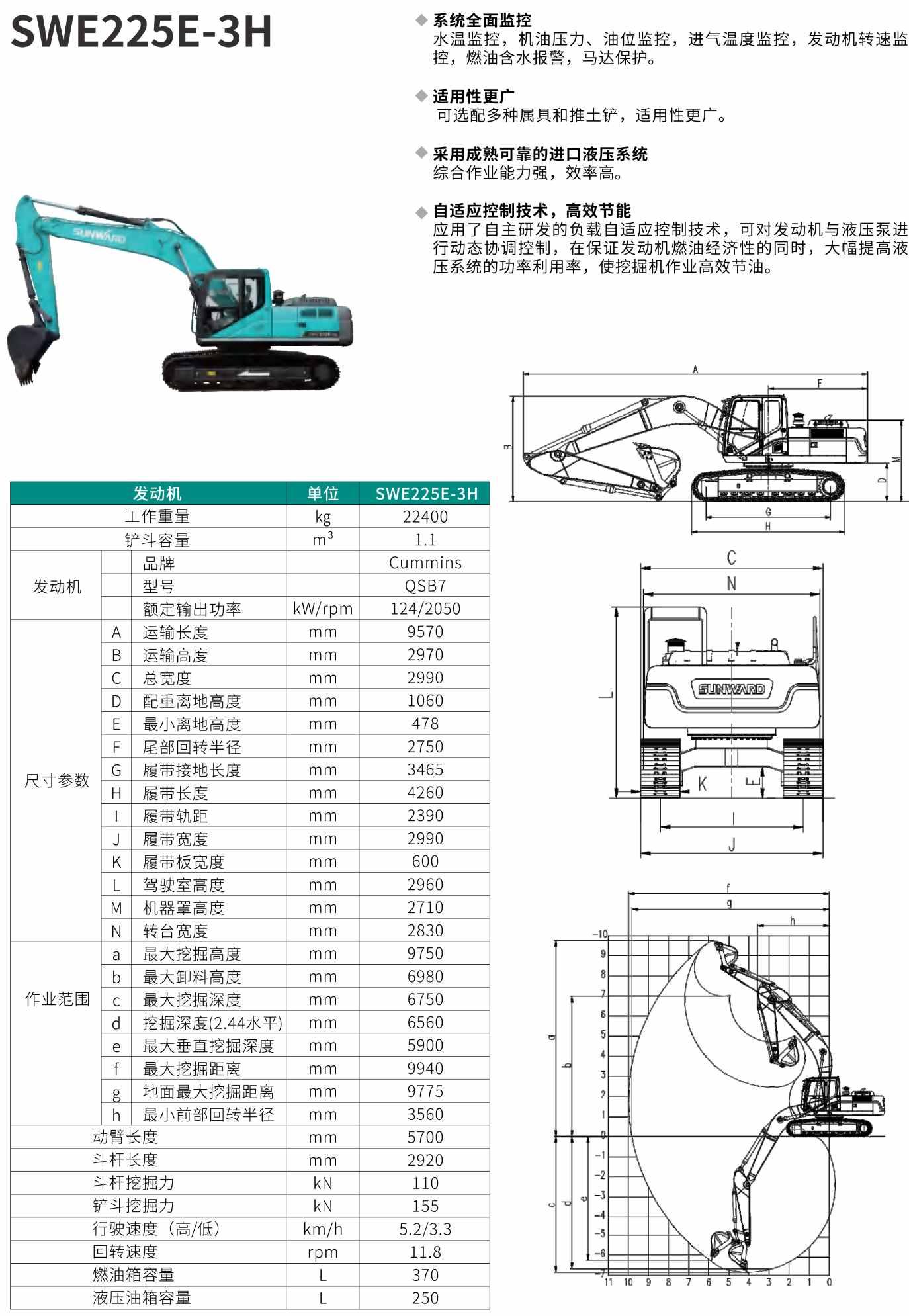 SWE225E-3H 中型挖掘机